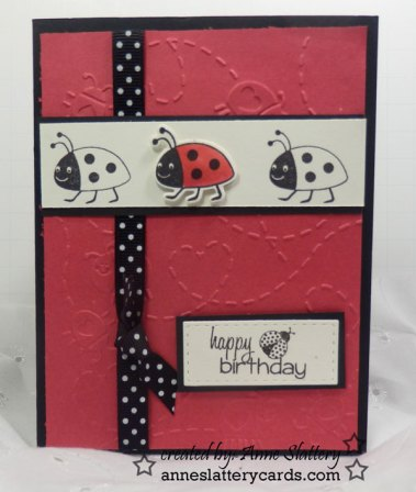 Ladybug Stamp From GinaK Greeting And Ribbon Stamps Of Life Simply Charmed Cuttlebug Embossing Folder The Card Will Be Going To Send A Smile 4 Kids